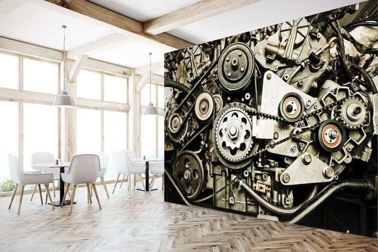3D Engine Gear 300 Vehicle Wall Murals Wallpaper Murals Self-adhesive Vinyl, XXL 312cm x 219cm (WxH)(123''x87'')