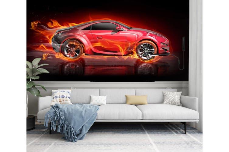 3D Fire Red Car 298 Vehicle Wall Murals Wallpaper Murals Self-adhesive Vinyl, XL 208cm x 146cm (WxH)(82''x58'')