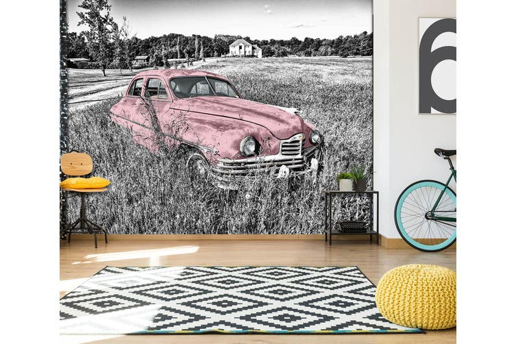3D Abandoned Pink Car 293 Vehicle Wall Murals Wallpaper Murals Self-adhesive Vinyl, XL 208cm x 146cm (WxH)(82''x58'')