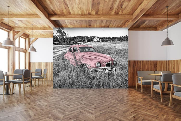 3D Abandoned Pink Car 293 Vehicle Wall Murals Wallpaper Murals Self-adhesive Vinyl, XXXXL 520cm x 290cm (WxH)(205''x114'')