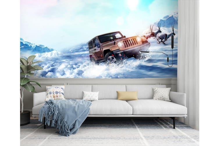 3D Sea Deer Car 290 Vehicle Wall Murals Wallpaper Murals Self-adhesive Vinyl, XL 208cm x 146cm (WxH)(82''x58'')