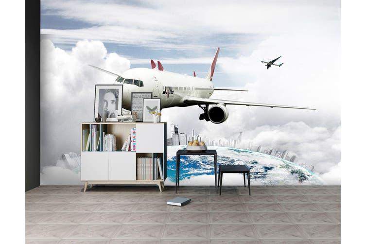 3D Earth Cloud Plane 280 Vehicle Wall Murals Wallpaper Murals Woven paper (need glue), XXXL 416cm x 254cm (WxH)(164''x100'')