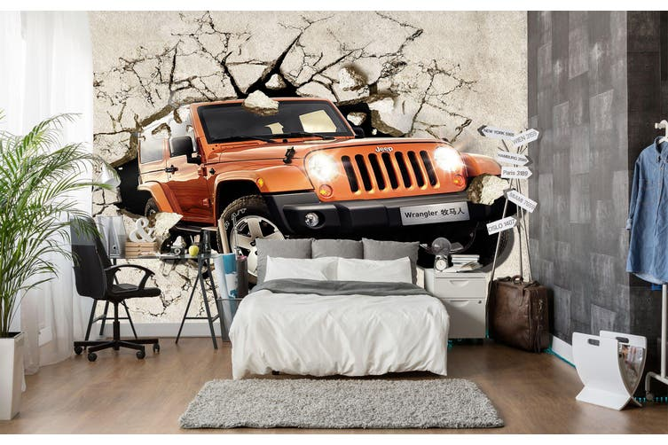 3D Hummer Broken Wall 278 Vehicle Wall Murals Wallpaper Murals Woven paper (need glue), XXL 312cm x 219cm (WxH)(123''x87'')