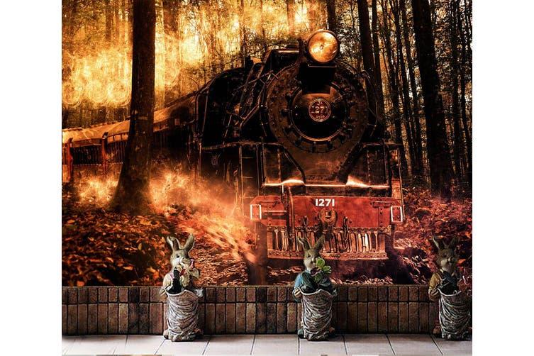 3D Vintage Train Forest 274 Vehicle Wall Murals Wallpaper Murals Woven paper (need glue), XXXL 416cm x 254cm (WxH)(164''x100'')