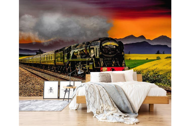 3D Wheat Field Train 273 Vehicle Wall Murals Wallpaper Murals Self-adhesive Vinyl, XXL 312cm x 219cm (WxH)(123''x87'')