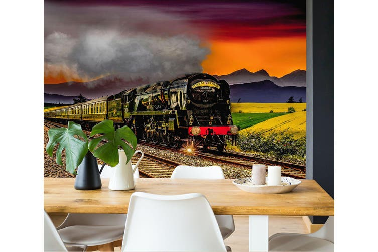 3D Wheat Field Train 273 Vehicle Wall Murals Wallpaper Murals Self-adhesive Vinyl, XXXXL 520cm x 290cm (WxH)(205''x114'')