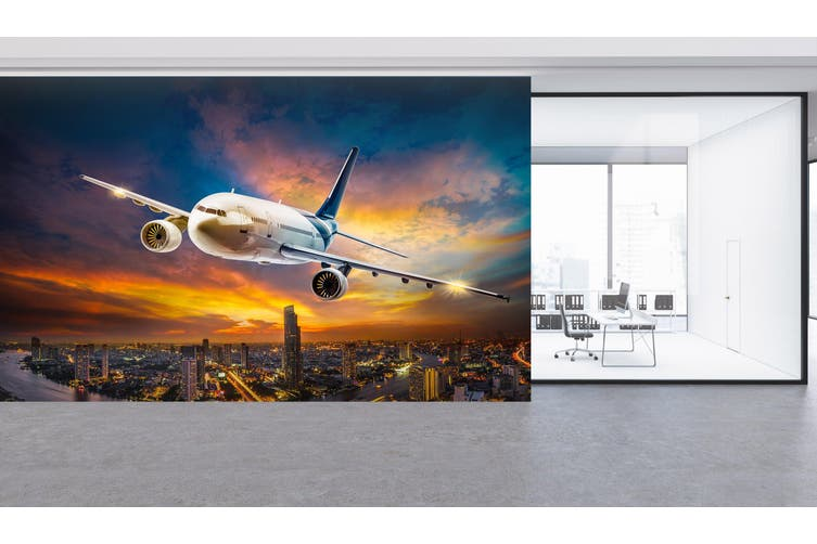 3D Dusk Plane 272 Vehicle Wall Murals Wallpaper Murals Woven paper (need glue), XXXL 416cm x 254cm (WxH)(164''x100'')