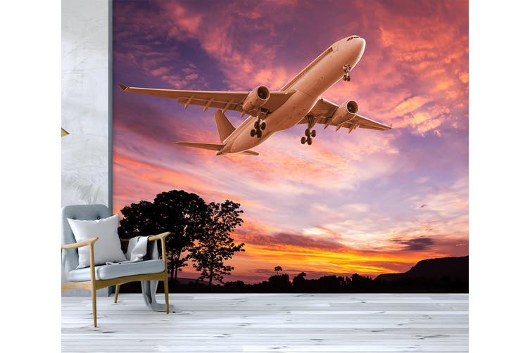 3D Purple Sky Plane 271 Vehicle Wall Murals Wallpaper Murals Woven paper (need glue), XXXXL 520cm x 290cm (WxH)(205''x114'')
