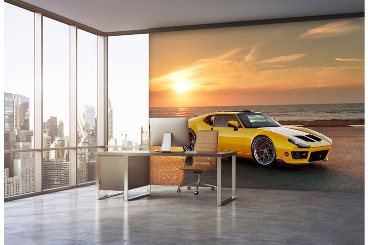 3D Sunset Sports Car 265 Vehicle Wall Murals Wallpaper Murals Woven paper (need glue), XXXXL 520cm x 290cm (WxH)(205''x114'')
