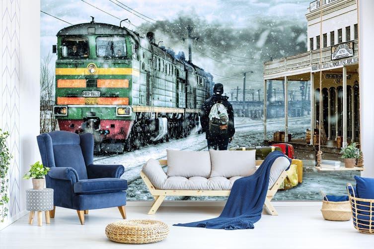 3D Snowing Train 264 Vehicle Wall Murals Wallpaper Murals Woven paper (need glue), XL 208cm x 146cm (WxH)(82''x58'')