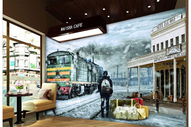 3D Snowing Train 264 Vehicle Wall Murals Wallpaper Murals Self-adhesive Vinyl, XL 208cm x 146cm (WxH)(82''x58'')