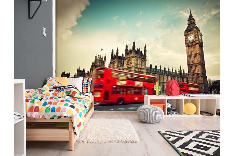 3D Bus Clock Tower 261 Vehicle Wall Murals Wallpaper Murals Woven paper (need glue), XL 208cm x 146cm (WxH)(82''x58'')