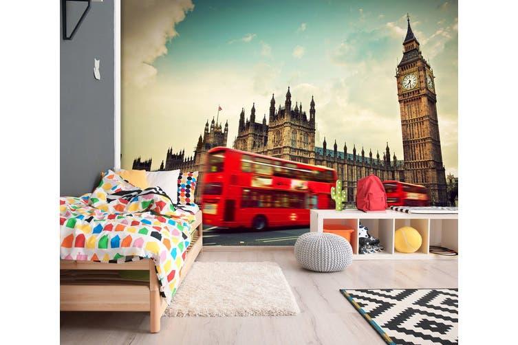 3D Bus Clock Tower 261 Vehicle Wall Murals Wallpaper Murals Self-adhesive Vinyl, XXL 312cm x 219cm (WxH)(123''x87'')