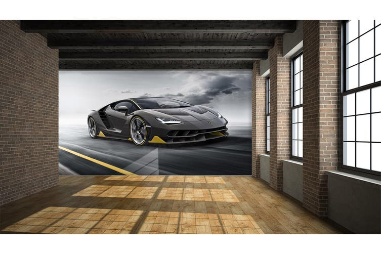 3D Black Sports Car 259 Vehicle Wall Murals Wallpaper Murals Self-adhesive Vinyl, XL 208cm x 146cm (WxH)(82''x58'')