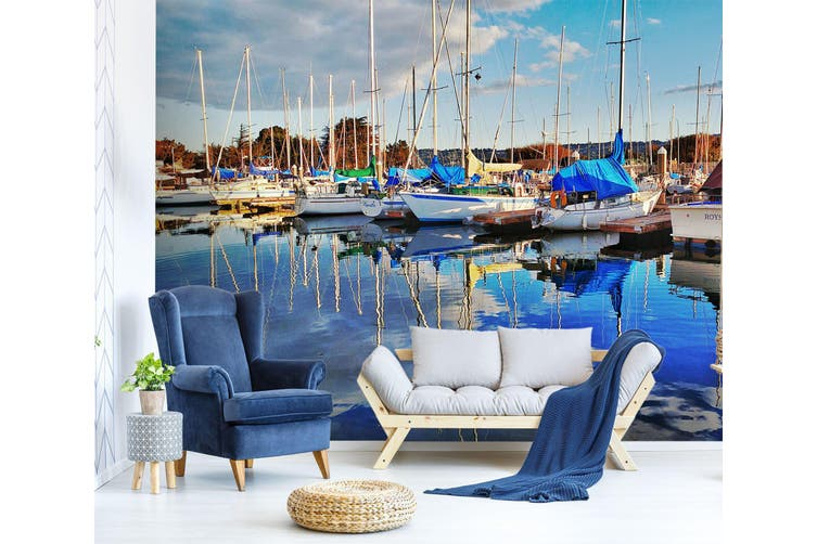 3D Sea Boat Docked 256 Vehicle Wall Murals Wallpaper Murals Self-adhesive Vinyl, XXXXL 520cm x 290cm (WxH)(205''x114'')