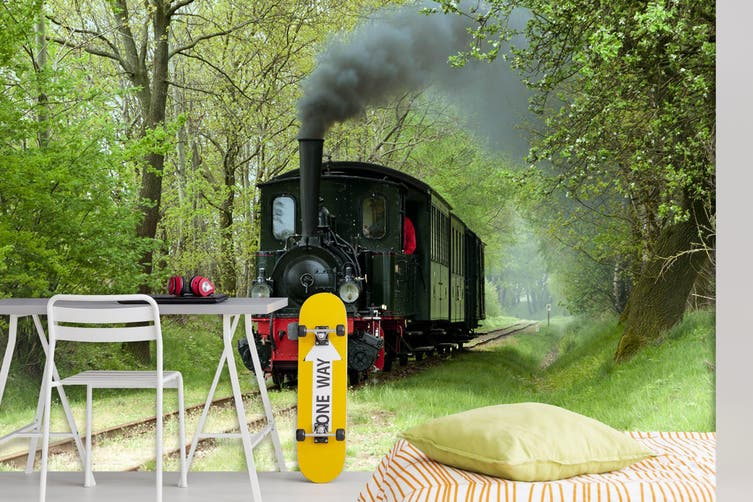 3D Black Train Woods 254 Vehicle Wall Murals Wallpaper Murals Self-adhesive Vinyl, XXXL 416cm x 254cm (WxH)(164''x100'')