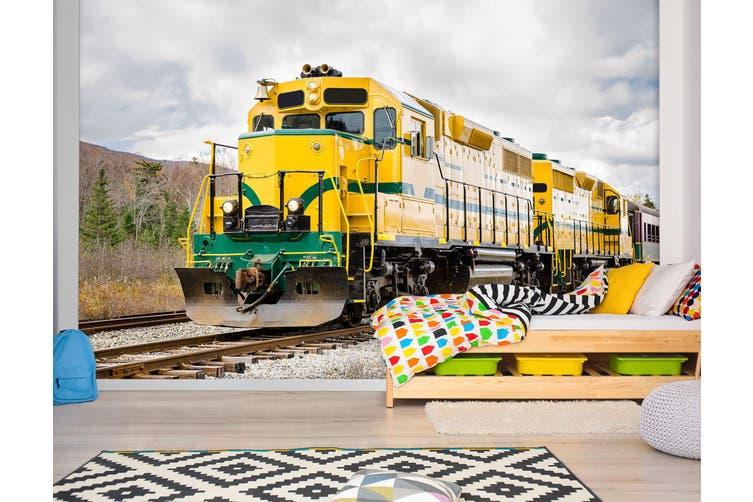 3D Yellow Train Stone 253 Vehicle Wall Murals Wallpaper Murals Self-adhesive Vinyl, XXL 312cm x 219cm (WxH)(123''x87'')