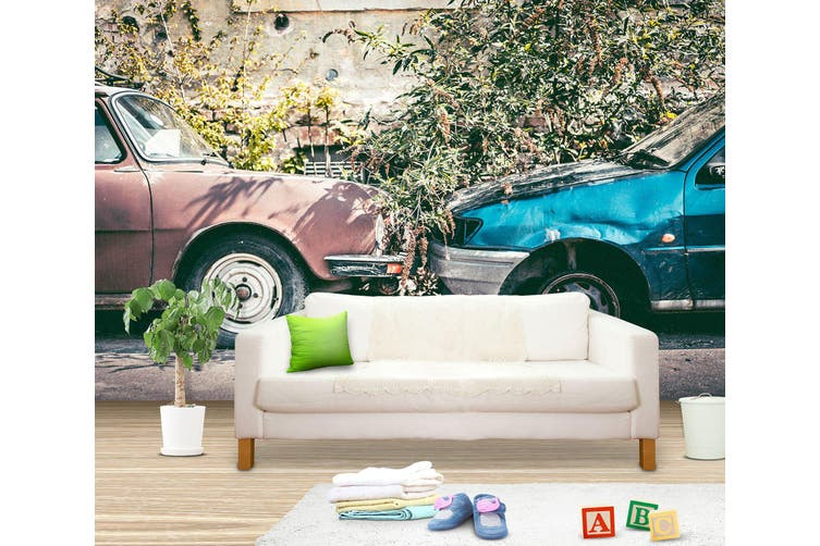 3D Blue Worn Car 252 Vehicle Wall Murals Wallpaper Murals Woven paper (need glue), XL 208cm x 146cm (WxH)(82''x58'')