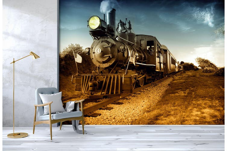3D Vintage Train 250 Vehicle Wall Murals Wallpaper Murals Woven paper (need glue), XXXL 416cm x 254cm (WxH)(164''x100'')