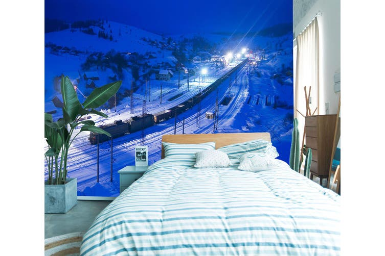 3D Night Snow Train 249 Vehicle Wall Murals Wallpaper Murals Woven paper (need glue), XXL 312cm x 219cm (WxH)(123''x87'')