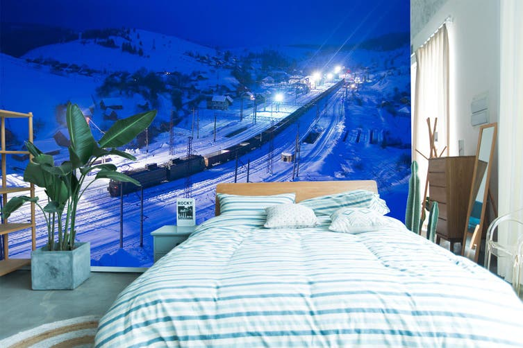 3D Night Snow Train 249 Vehicle Wall Murals Wallpaper Murals Self-adhesive Vinyl, XXXXL 520cm x 290cm (WxH)(205''x114'')