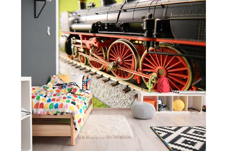 3D Red Train Wheel 248 Vehicle Wall Murals Wallpaper Murals Self-adhesive Vinyl, XL 208cm x 146cm (WxH)(82''x58'')