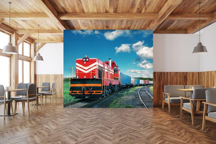 3D Freight Train Cloud 246 Vehicle Wall Murals Wallpaper Murals Woven paper (need glue), XXXL 416cm x 254cm (WxH)(164''x100'')