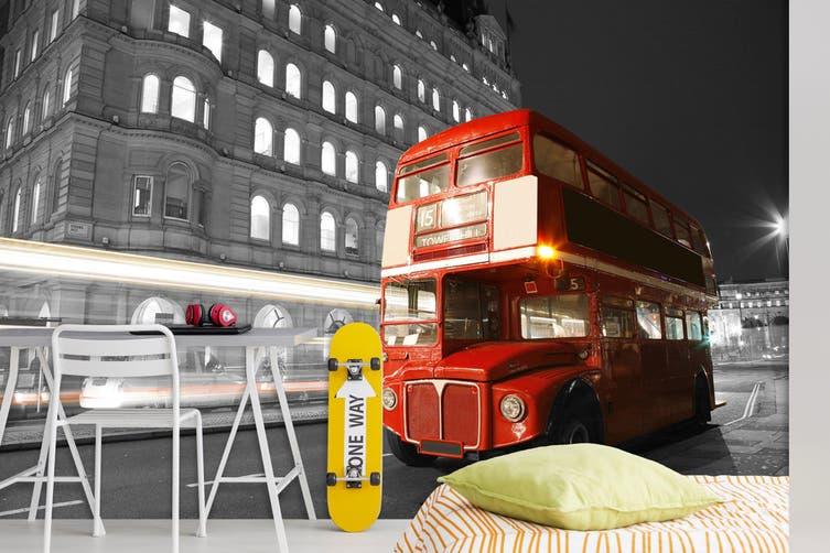3D Double Decker Bus 244 Vehicle Wall Murals Wallpaper Murals Self-adhesive Vinyl, XXL 312cm x 219cm (WxH)(123''x87'')