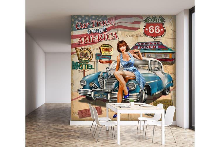 3D Blue Car Model 242 Vehicle Wall Murals Wallpaper Murals Woven paper (need glue), XXXXL 520cm x 290cm (WxH)(205''x114'')