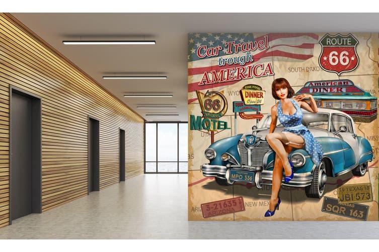 3D Blue Car Model 242 Vehicle Wall Murals Wallpaper Murals Self-adhesive Vinyl, XXXXL 520cm x 290cm (WxH)(205''x114'')
