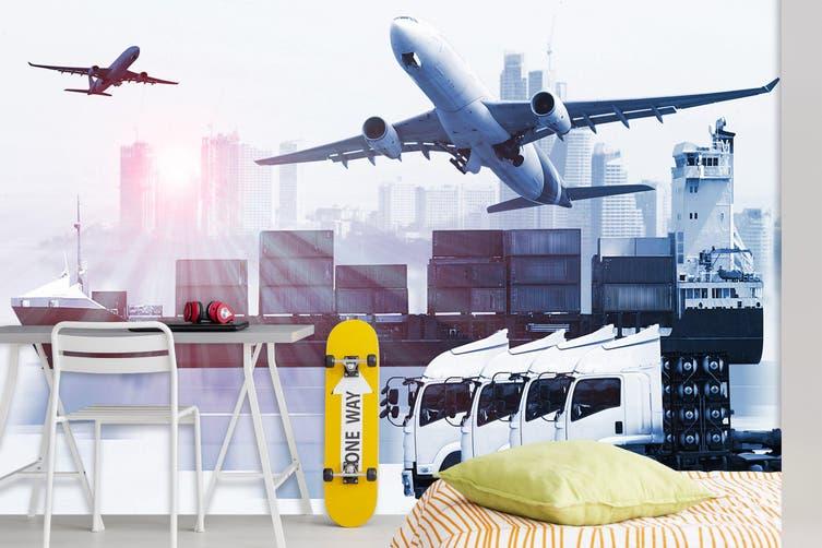 3D Cargo Transport 233 Vehicle Wall Murals Wallpaper Murals Self-adhesive Vinyl, XXL 312cm x 219cm (WxH)(123''x87'')