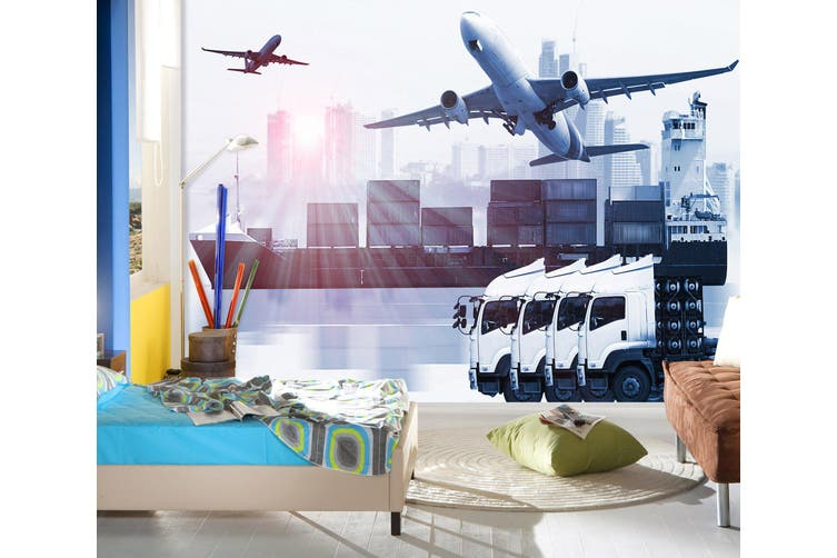 3D Cargo Transport 233 Vehicle Wall Murals Wallpaper Murals Self-adhesive Vinyl, XXXL 416cm x 254cm (WxH)(164''x100'')