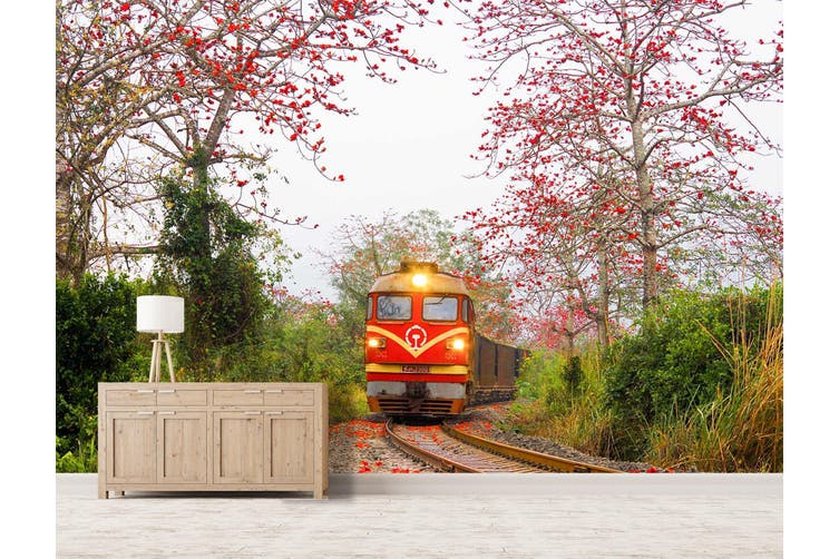 3D Kapok Train 222 Vehicle Wall Murals Wallpaper Murals Self-adhesive Vinyl, XXXXL 520cm x 290cm (WxH)(205''x114'')