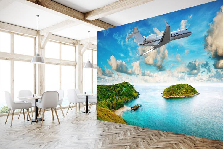 3D Island Aircraft 216 Vehicle Wall Murals Wallpaper Murals Self-adhesive Vinyl, XL 208cm x 146cm (WxH)(82''x58'')