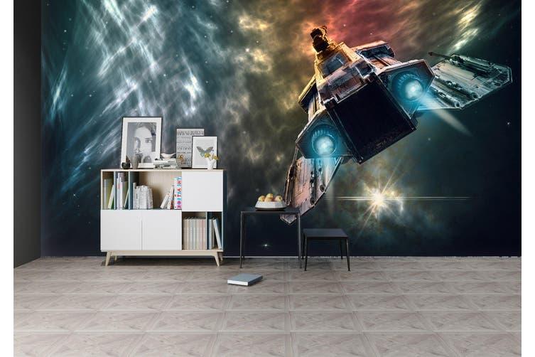 3D Spaceship Light 212 Vehicle Wall Murals Wallpaper Murals Self-adhesive Vinyl, XXL 312cm x 219cm (WxH)(123''x87'')