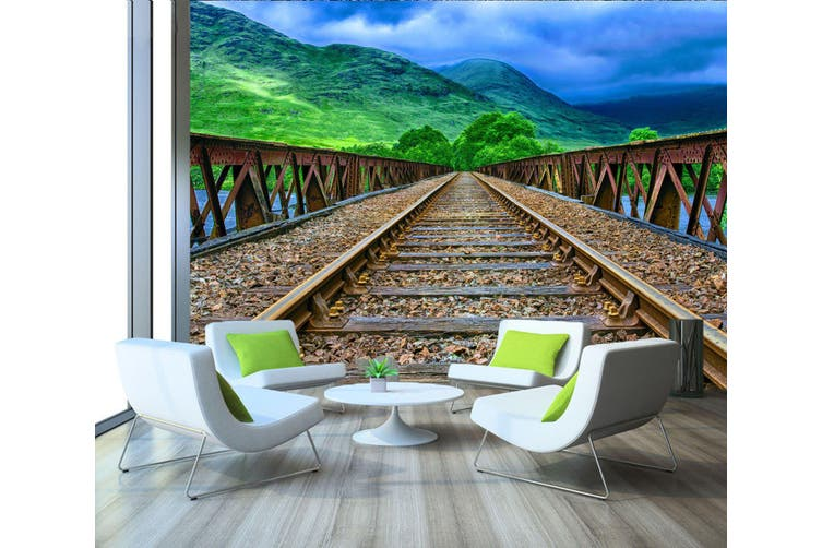 3D Prairie Railway 210 Vehicle Wall Murals Wallpaper Murals Woven paper (need glue), XXL 312cm x 219cm (WxH)(123''x87'')