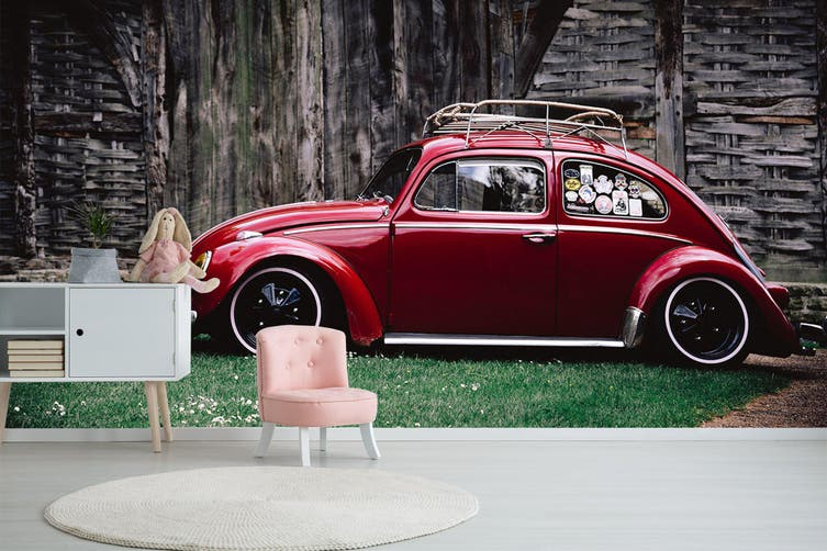 3D House Red Car 201 Vehicle Wall Murals Wallpaper Murals Woven paper (need glue), XL 208cm x 146cm (WxH)(82''x58'')