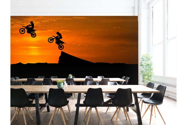 3D Sunset Motorcycle 194 Vehicle Wall Murals Wallpaper Murals Self-adhesive Vinyl, XL 208cm x 146cm (WxH)(82''x58'')