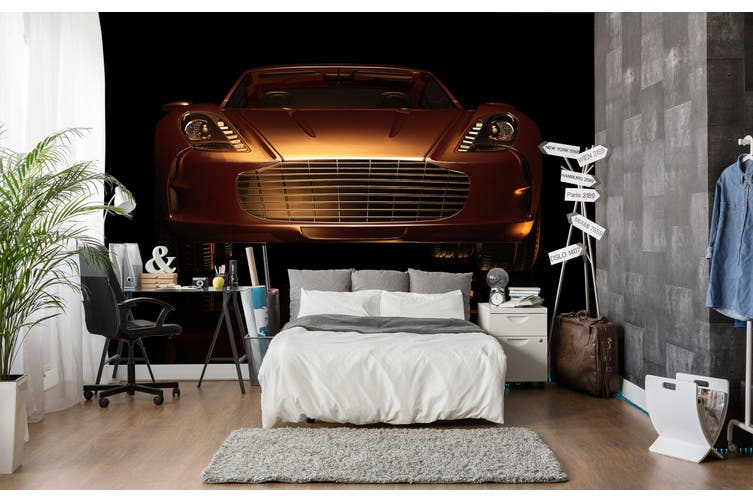 3D Golden Sports Car 192 Vehicle Wall Murals Wallpaper Murals Self-adhesive Vinyl, XXXXL 520cm x 290cm (WxH)(205''x114'')