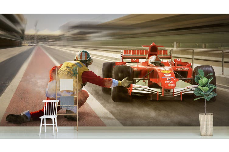 3D Orange Racing 187 Vehicle Wall Murals Wallpaper Murals Self-adhesive Vinyl, XXL 312cm x 219cm (WxH)(123''x87'')