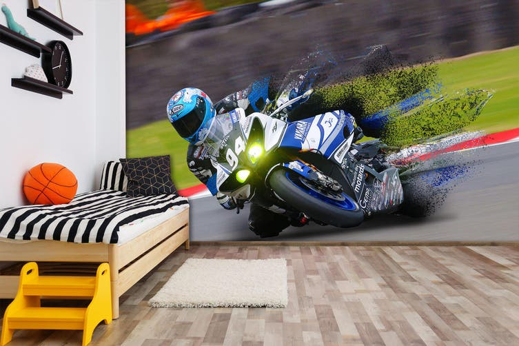 3D Motorcycle Drift 185 Vehicle Wall Murals Wallpaper Murals Self-adhesive Vinyl, XL 208cm x 146cm (WxH)(82''x58'')