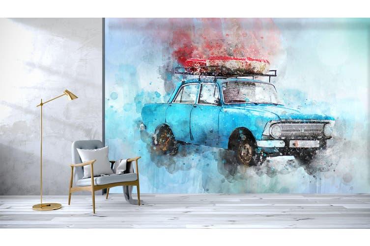 3D Blue Old Car 181 Vehicle Wall Murals Wallpaper Murals Woven paper (need glue), XXXXL 520cm x 290cm (WxH)(205''x114'')