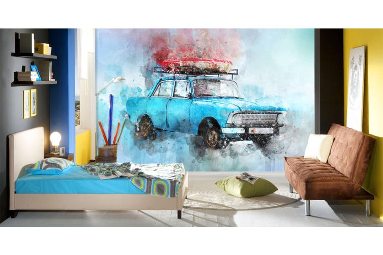 3D Blue Old Car 181 Vehicle Wall Murals Wallpaper Murals Self-adhesive Vinyl, XXXXL 520cm x 290cm (WxH)(205''x114'')