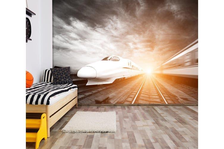 3D Sunset Train 172 Vehicle Wall Murals Wallpaper Murals Woven paper (need glue), XL 208cm x 146cm (WxH)(82''x58'')
