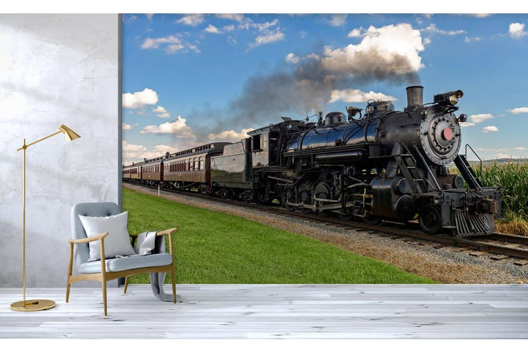 3D Train Head Smoke 171 Vehicle Wall Murals Wallpaper Murals Self-adhesive Vinyl, XXXL 416cm x 254cm (WxH)(164''x100'')