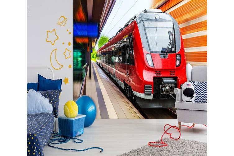 3D Red Locomotive 170 Vehicle Wall Murals Wallpaper Murals Self-adhesive Vinyl, XL 208cm x 146cm (WxH)(82''x58'')