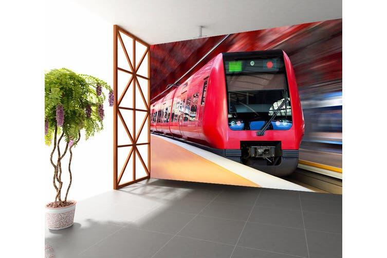 3D Red Train 167 Vehicle Wall Murals Wallpaper Murals Woven paper (need glue), XXXXL 520cm x 290cm (WxH)(205''x114'')