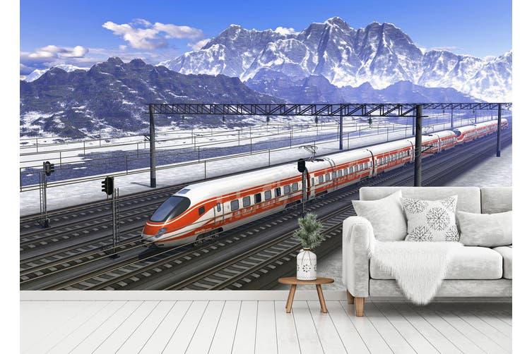 3D High-Speed Railway 166 Vehicle Wall Murals Wallpaper Murals Woven paper (need glue), XL 208cm x 146cm (WxH)(82''x58'')