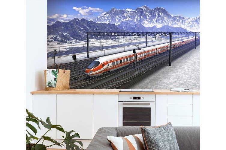 3D High-Speed Railway 166 Vehicle Wall Murals Wallpaper Murals Woven paper (need glue), XXL 312cm x 219cm (WxH)(123''x87'')
