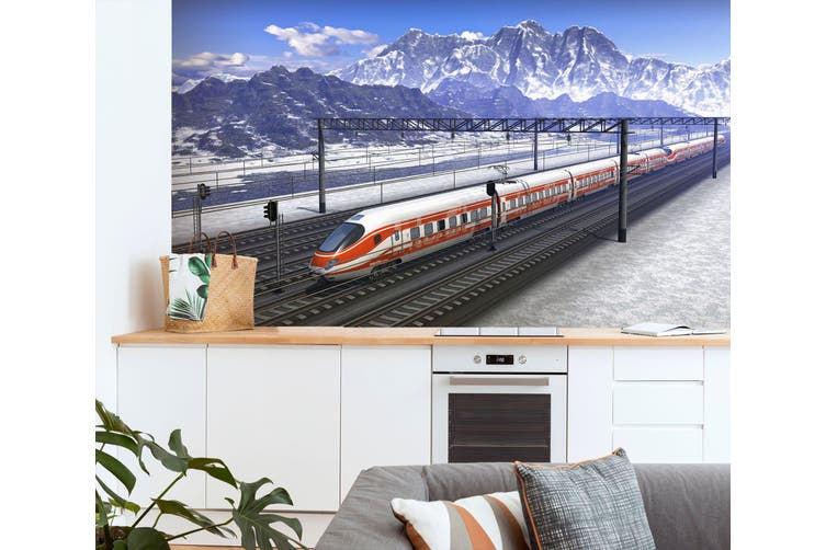 3D High-Speed Railway 166 Vehicle Wall Murals Wallpaper Murals Woven paper (need glue), XXXL 416cm x 254cm (WxH)(164''x100'')